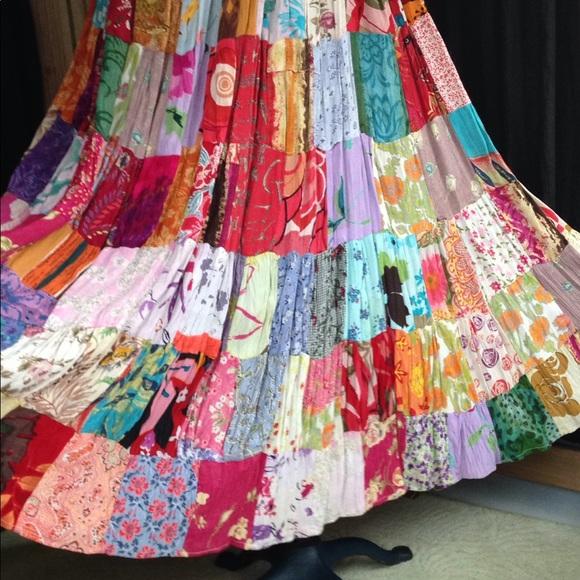 6161ca0d6 Vintage Skirts | M Patchwork Skirt Peasant Gypsy Hippie Festival ...